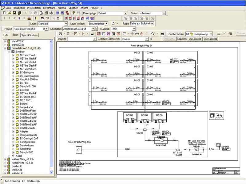 Plan der Gebäudetechnik in einem modernen Gebäude